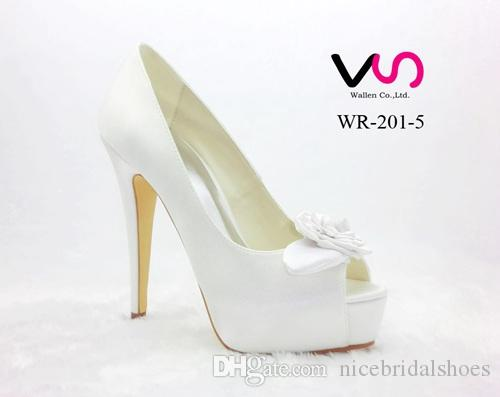 New Rose Bow Brilliant White Color Super High Heel Peep Open Shoe Toe With  Thick Platform Dyeable Satin Dyeable Women Bridal Wedding Shoes Ivory Color  ...