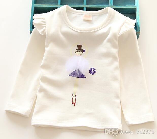 df8b766fff8ba Acheter T Shirt Ballet Dance Girl T Shirts Blanc Imprimé Avec Robe Mesh  Extra Manches Longues 4 Couleurs Sélection De  78.01 Du Bc2378