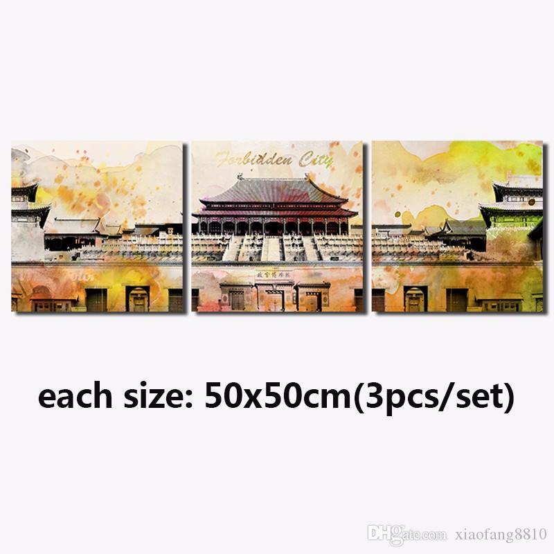 Colorido 3 unids chino edificio sala de estar Decoración Ciudad Prohibida plaza Lienzo Pintura arte de la pared imagen decoración para el hogar sin marco