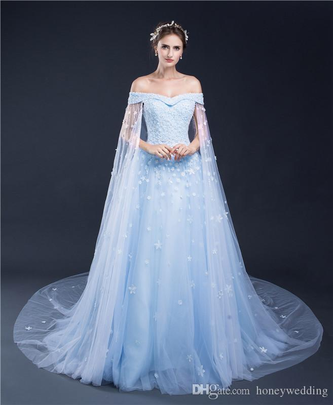 Amazing Light Blue Women Formal Dresses Evening Wear 2017 Off Shoulder Appliques Beaded Watteau Cheap Prom Gowns In Stock