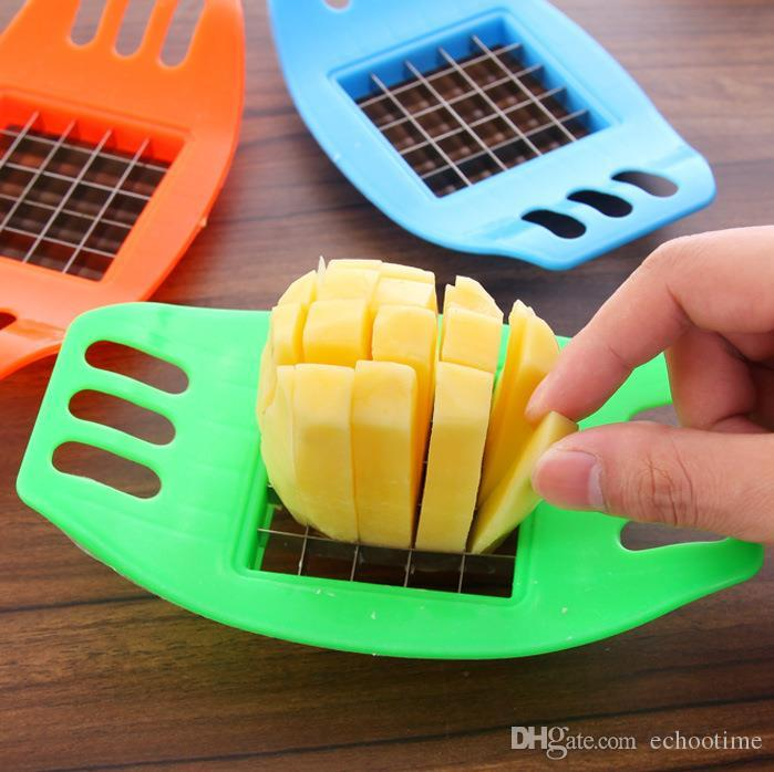 Lowest Price!! hot Stainless Steel Potato Cutter Vegetable Slicer Chopper Chips Device Fries Kitchen Cooking Tools Potato Vegetable Slicer