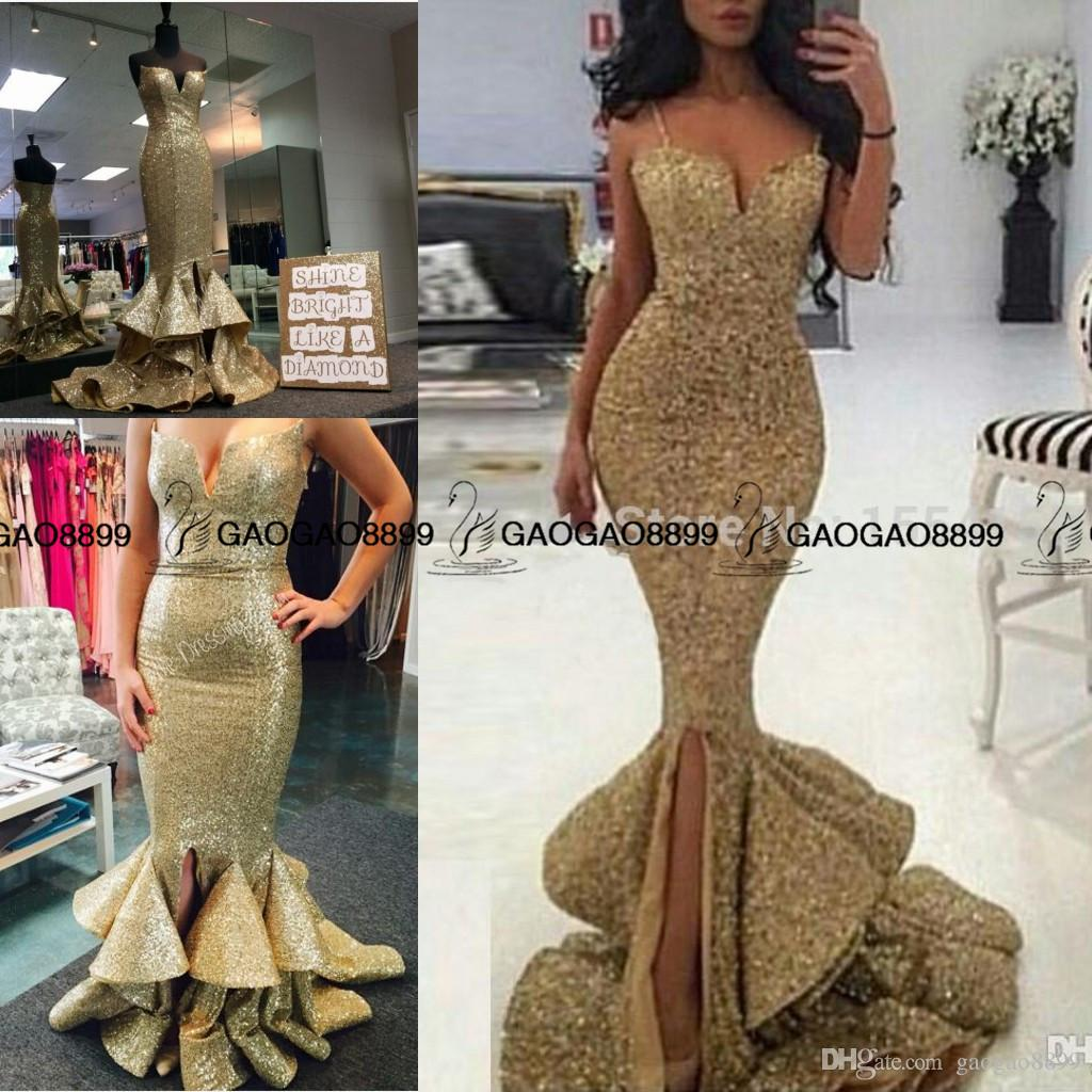 73eca1cf43 Real Photo Sparkly Spaghetti Straps Mermaid Long Gold Prom Dresses 2016  Sweetheart Ruffles Slit Front Evening Party Dress For Graduation