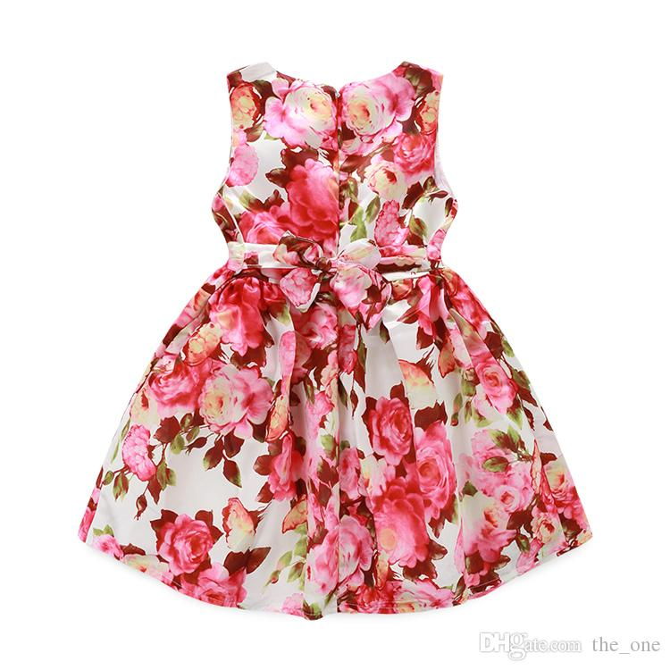 PrettyBaby 2016 summer girls dress sleeveless floral printed colorful 100%cotton lining kids clothing