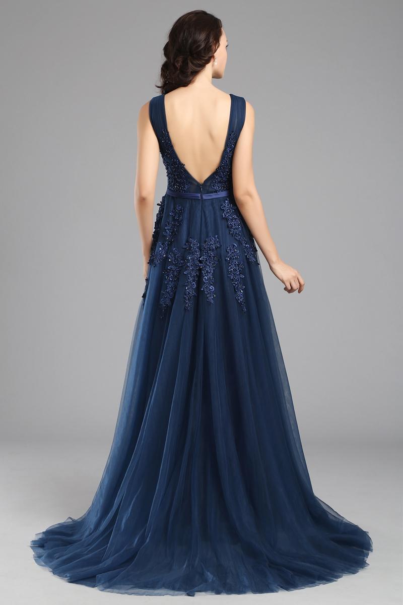 2020 SSYFashion Abendkleider der Braut-Spitze A-Linie Sexy V-Ausschnitt Appliques Abschlussball-Partei-formale Kleid nach Maß Robe De Soiree 160