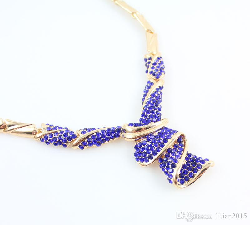 Fashion High Quality Nigerian Wedding African Beads Jewelry Sets Blue Crystal Dubai Gold Plated Big Jewelry Sets Costume