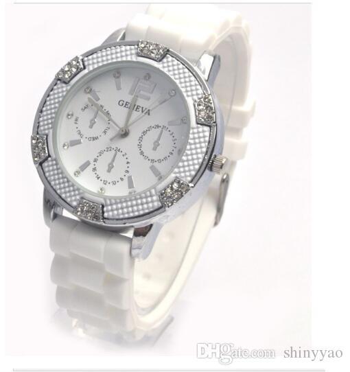 Часы женская мода роскошные часы унисекс дрель силиконовые желе кварцевые часы Montre femme Женева золото бесплатная доставка
