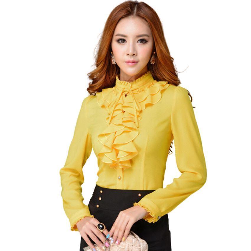 4807664bbce1a Compre Moda Cuello De Manga Larga Camisa Amarilla Para Mujer OL Oficina  Formal Elegante Volantes Gasa Blusa De Las Mujeres Más Tamaño Arco Tops A   20.39 Del ...