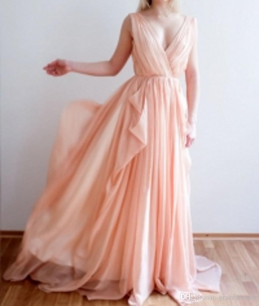 Großhandel Orange Rosa Hochzeit Kleid Strand Flüssige Chiffon ...