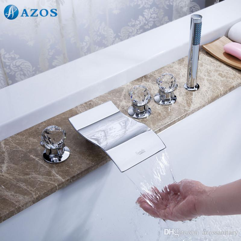 2017 Azos Bathtub Faucets Chrome Polished Deck Mount Hot Cold Mixer Sprayer  Showerheads Handles Diverter Valves Glass Handles Ygwj023 From  Azossanitary, ...