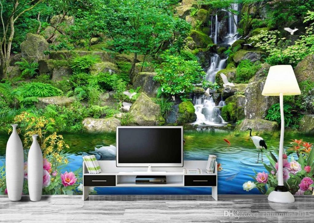 Belleza mural personalizada 3d para sala de estar Flor rica 3d mural wallpaper-roll-size