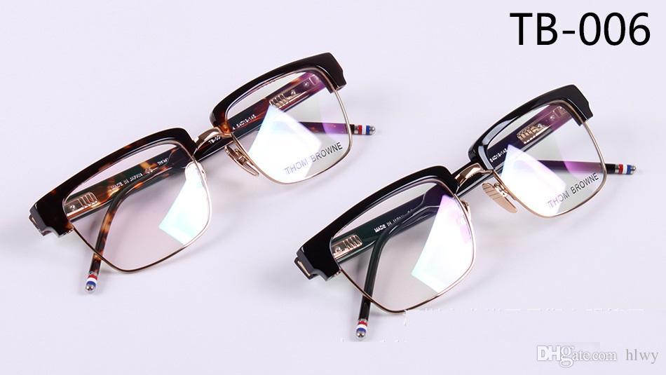 b02fb293ebf 2019 Wholesale 2017 Fashion Brand Eyeglasses Frame TB 006 Half Frame  Glasses Frame Mirror Flat Mirror With Box Size 57 19 145 From Hlwy