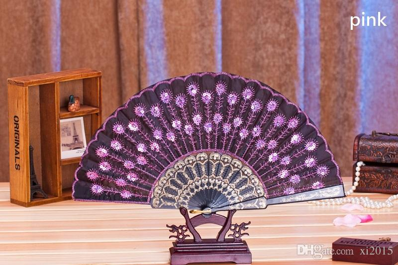 Plastic Embroidered Sequins Folding Flower Lace Fan Dance Hand Fans Party Wedding Decor Dancing Supplies Spanish Style wen4783