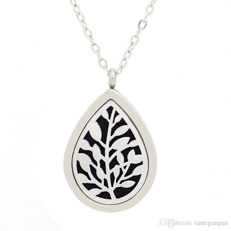 ¡Con cadena como regalo! Lágrima árbol de la vida Aromaterapia / aceites esenciales Difusor de perfume de acero inoxidable Locket