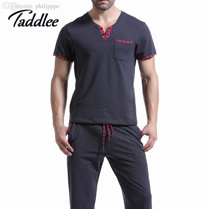 6031f4340e 2019 Wholesale Men T Shirt Cotton Pajama Set Sleepwear Sleep Bottoms Yoga  Long Pants Pajama Tees Undershirts Tshirts Brand Casual Short Sleeve From  ...