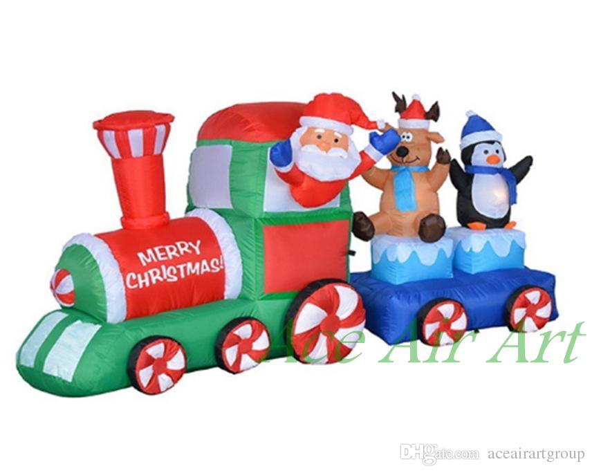 5 mètres de long Santa sur la décoration gonflable de Noël de train, décoration gonflable de Noël