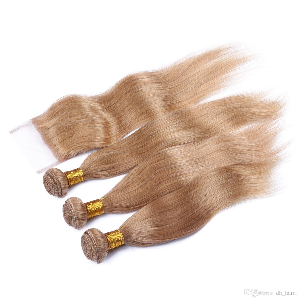 Peruvian Human Hair Honey Blonde 3Bundles With Lace Closure #27 Blonde Straight Hair Weaves With 4*4 Top Closure