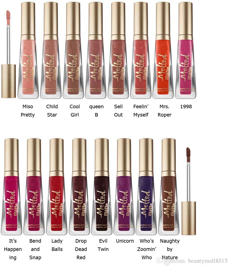 Hot New Melted Matte 16 couleurs rouges à lèvres liquéfiés à une véritable qualité liquide Lipgloss longue Porter Creamy brillants à lèvres Faced Maquillage gratuit DHL