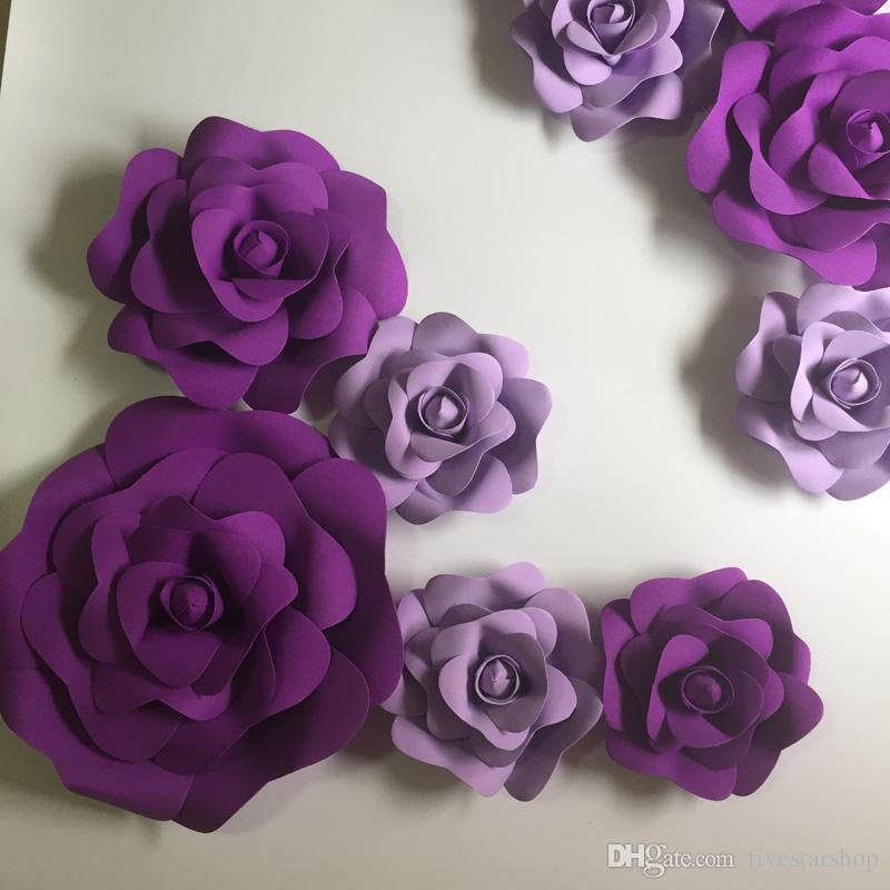 11 adet Dev Köpük Kağıt Çiçekler Vitrin Düğün Için Mix Leylak Mor Backdrop Arka Plan Faaliyetleri Dekorasyon Sahne Sahne