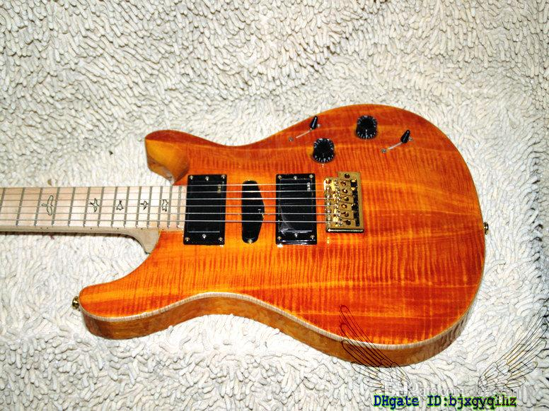 Custom Shop Orange Flame Top Electric Guitar Maple Fingerboard High Quality HOT Guitar free shipping