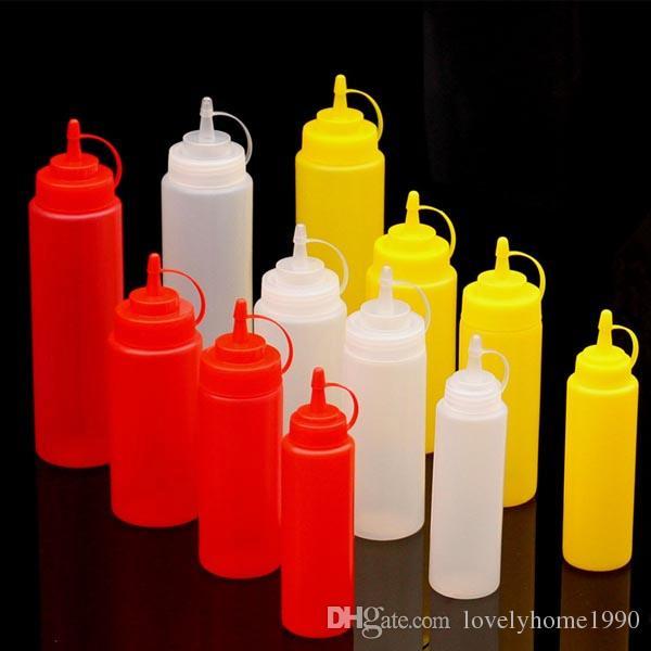 8-24OZ Plastic Squeeze Bottle Condiment Dispenser Ketchup Mustard Sauce Vinegar