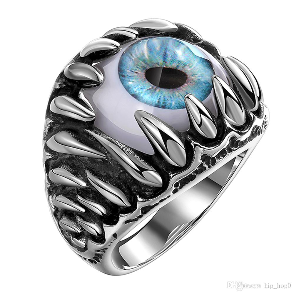 Vintage Punk Titan Stahl Ring Gothic Dragon Claw Evil Eye Charms Erklärung Schmuck Edelstahl Herren Ringe