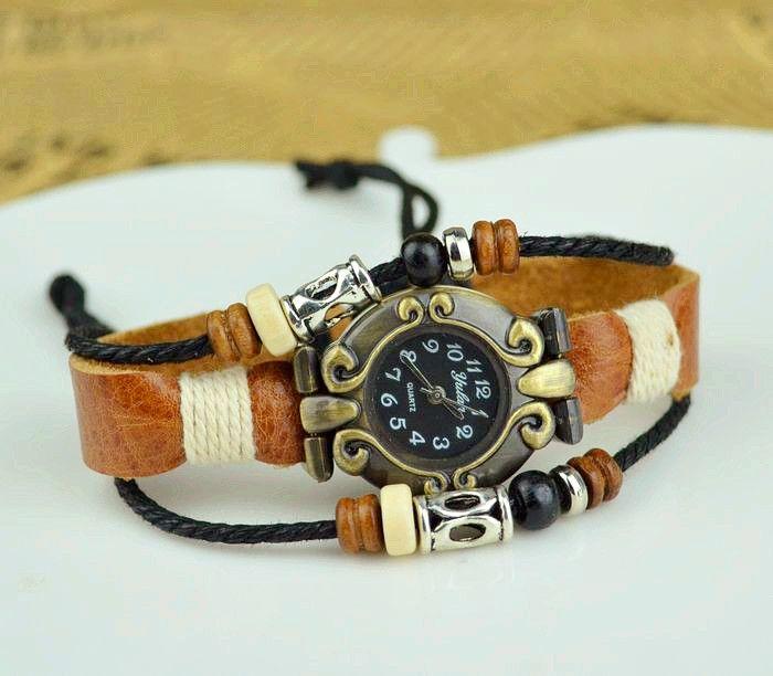 Envío gratis venta caliente de las mujeres de cuero retro mariposa cuarzo pulsera reloj es opcionales nuevo envío gratis