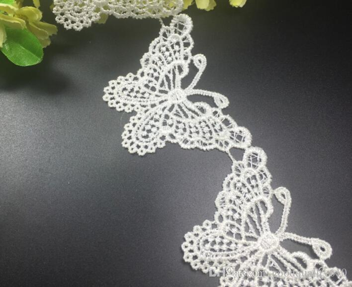 15Yard White/Black Butterfly Cotton Lace Fabric Trim Ribbon For Apparel Sewing DIY Collar Doll Cap Hair clip