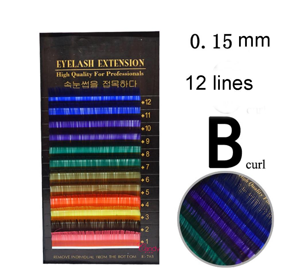 0.15 thickness B curl 10mm 12mm 14mm color eyelashes extension Rainbow Colored Eyelash Extension ,color eyelashes colorful eyelash extension