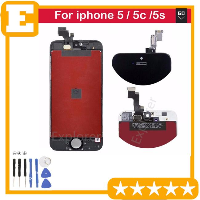black white Test Passed for Apple iphone 5g 5c 5s LCD touch screen comletely Touch screen display digitizer Assembly Replacement parts
