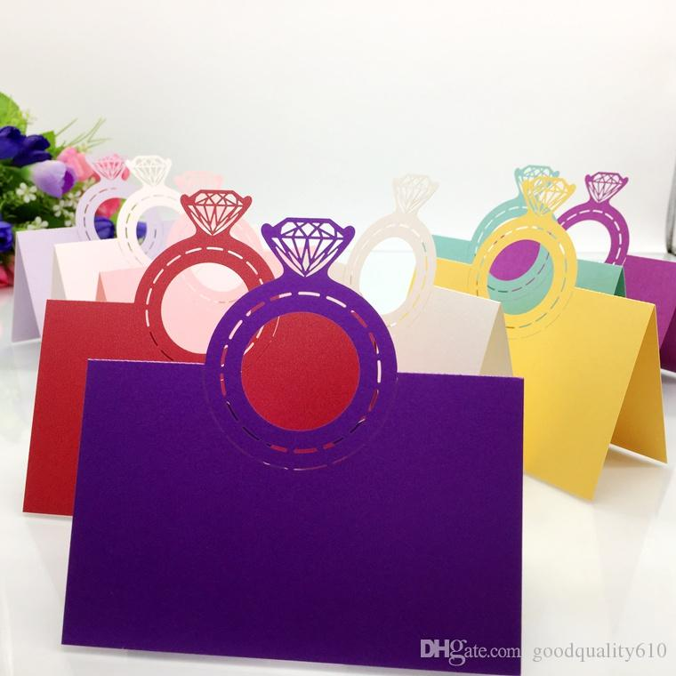 Laser Cut Hollow Diamond ring Paper Table Card Number Name Place Card For Party Wedding Decorate Customization