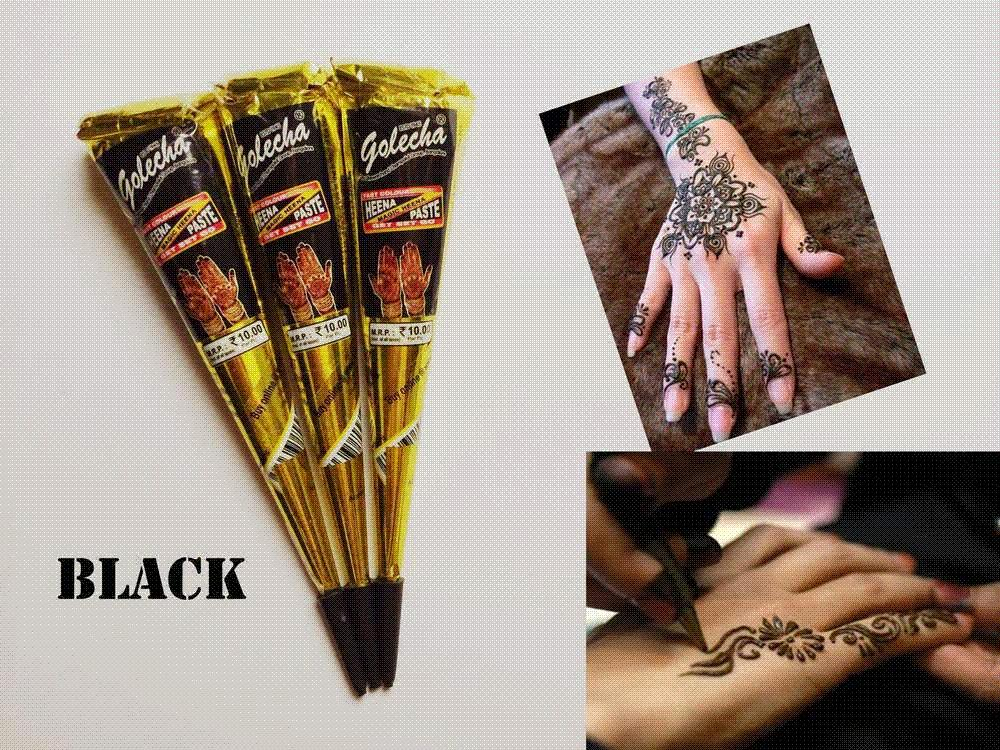 64c240426 Black Henna Cones Tatoo Tube Natural Indian Temporary Tattoos ...