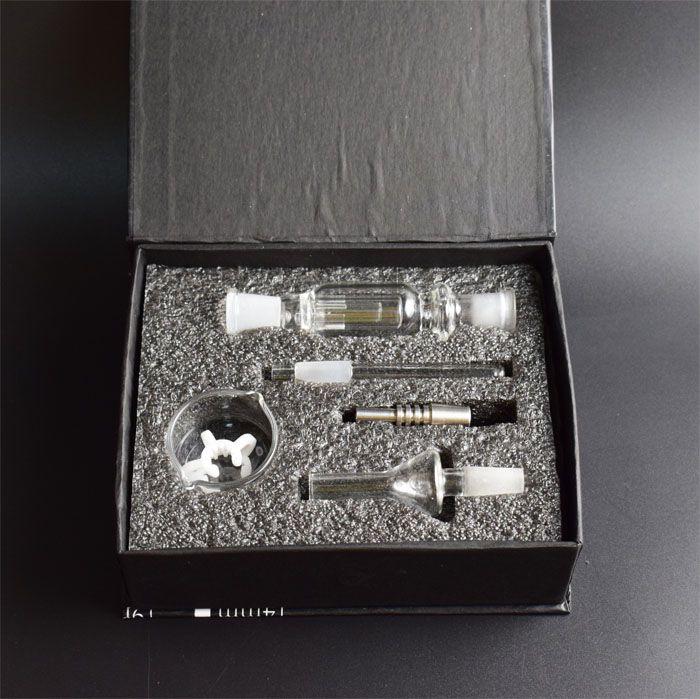 Hot Nectar Collector 10mm Nectar Collector Water Smoking Pipe Bong Ash Catcher Ttitanium Vaporizador Kit de caja de regalo