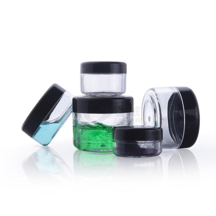 3g 5g 10g 15g 20g envase cosmético plástico negro plástico crema tarro de maquillaje de muestra Tarro cosmético botella de empaquetado