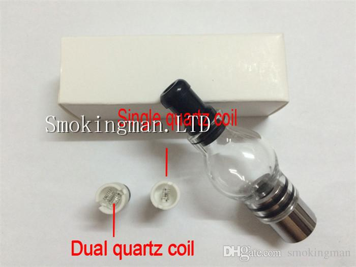 Dual quartz coils Glass Globe Atomizer Dry Herb Vaporizer Replacement Wax Vapor Tank with Quartz Coil Head donut coil for EGO T Evod Battery