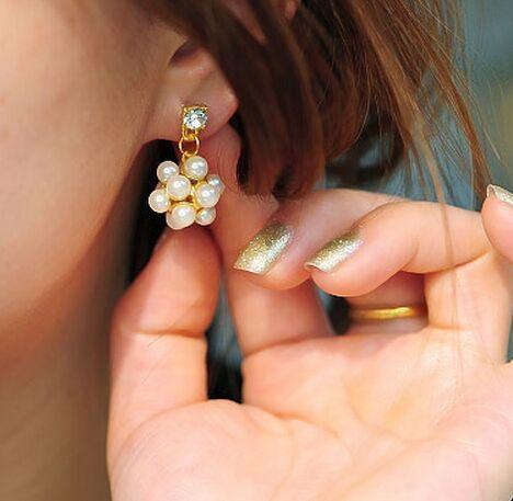 Boule de perle de mode / perle couronne / tête de champignon perle strass boucles d'oreilles de luxe bijoux de femmes anniversaire / mariage / cadeaux de Saint-Valentin