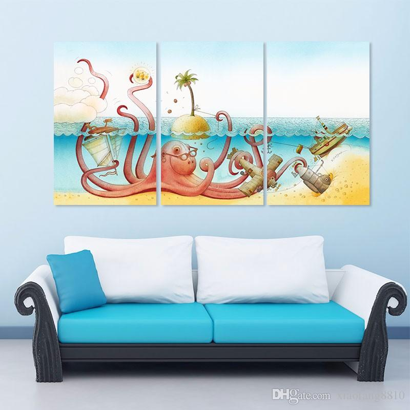 Cartoon dancing animal Octopus decoration boat aircraft wall art picture sea sun Canvas Painting children kids room unframed