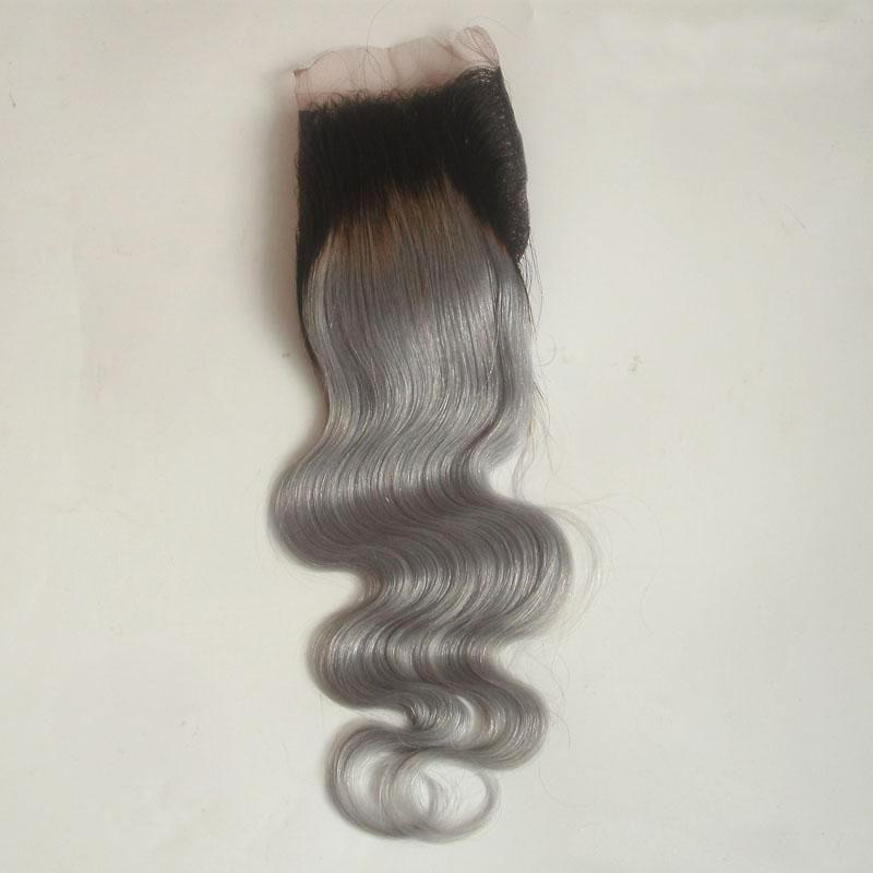 4*4 Ombre Lace Closure Middle Part T1B Grey Brazilian Body Wave Top Closure Two Tone Human Hair For Sale 8-20 inch