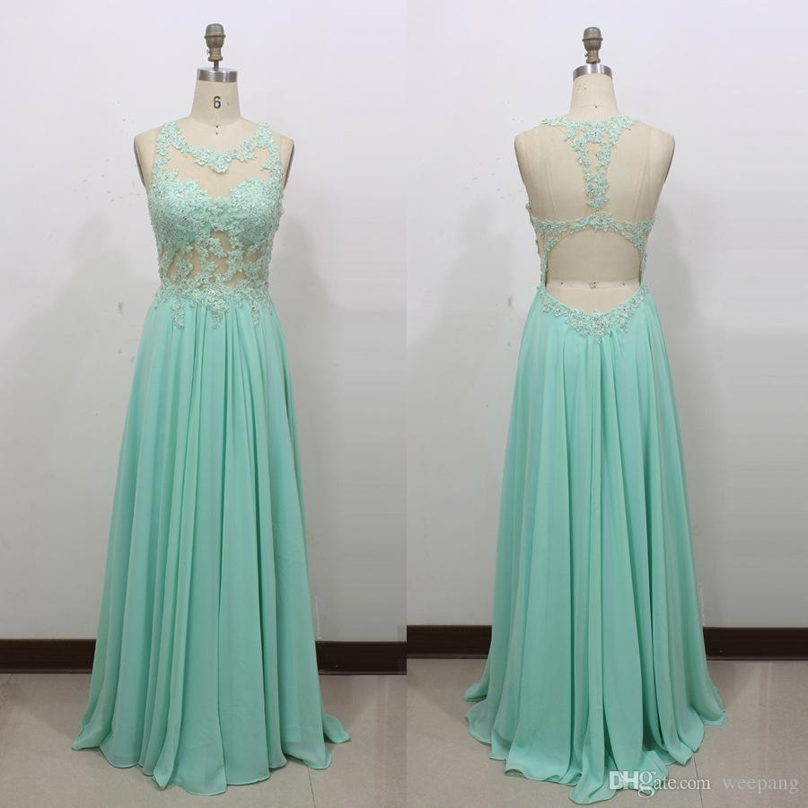Mint Green Sexy Backless Prom Dresses 2017 Real Sheer Scoop Lace ...