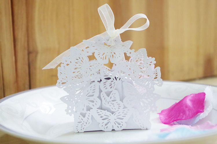 Hollow Out Butterfly Candy Box Festa di nozze Configura regalo di cioccolato regalo bianco regalo scatole unico e bellissimo design nuovo