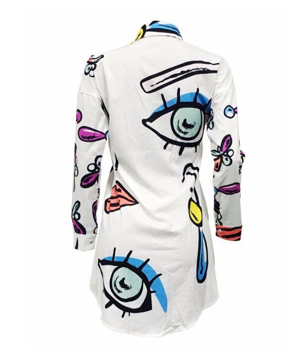 Fashion Casual Dresses Women Stylish Printed Shirt Dresses Loose Mini Dressing Plus Size Clothing