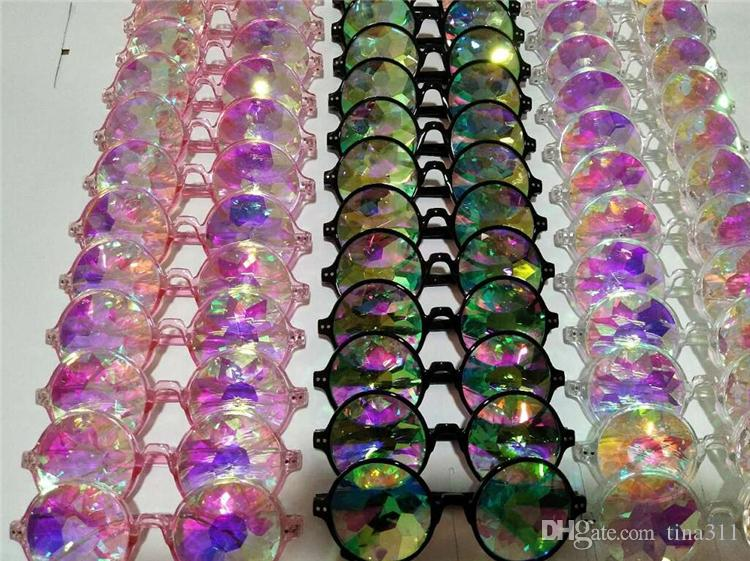 Fashion Geometric Kaleidoscope Glasses Rainbow Rave Lens Bling Bling Prism Crystal Diffraction Sunglasses Black Pink Clear CC605