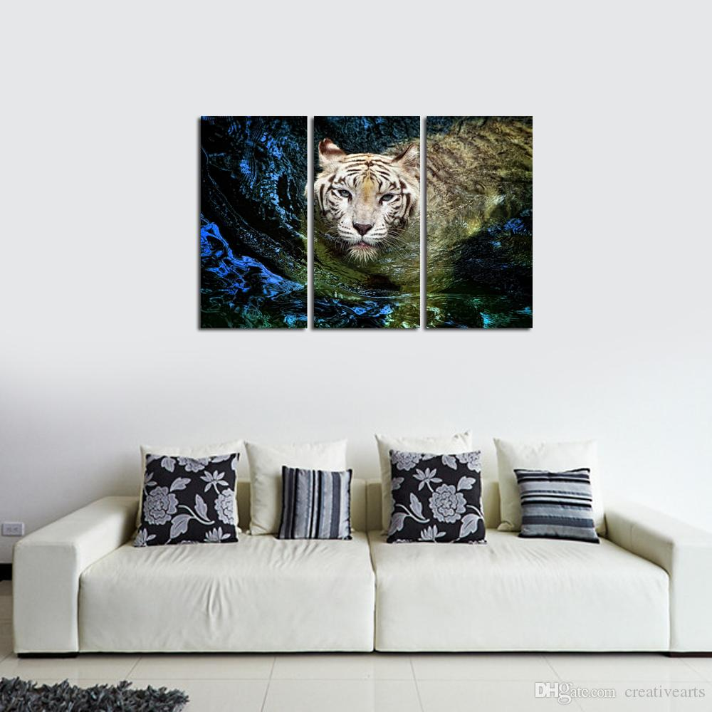 Modern Tiger Swimming In Water Dropship Print Canvas Paintings 3 Panel Home Decor For Living Room Decor Home Decoration Wall Hanging