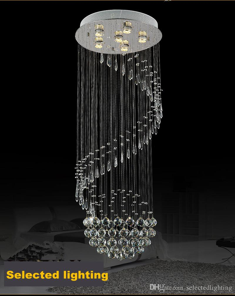 Crystal Chandelier Modern Spectacular LED Spiral Sphere Rain Drop K9 Ceiling Light Fixture for Living Room Hotel Hallway Foyer Entry Way
