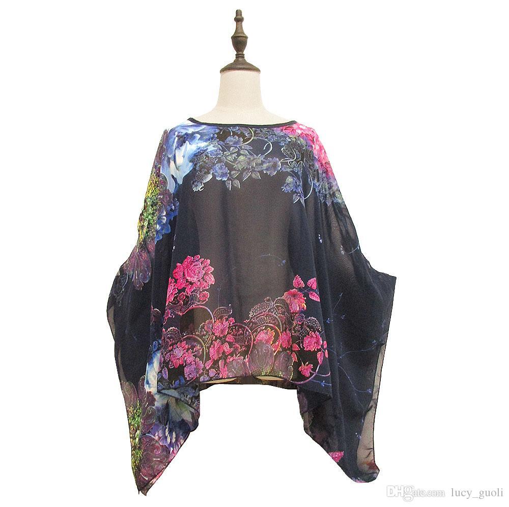 Heiße Neue 2016 Mode Böhmischen Blumendruck Frauen Casual Flügelhülse Chiffon Vintage Style Sommerkleid Plus Größe Kleidung Lose Chiffon