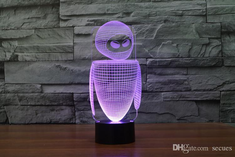 2017 Robot New Style 3D Optical Night Light 9 LEDs Night Light DC 5V Factory Wholesale