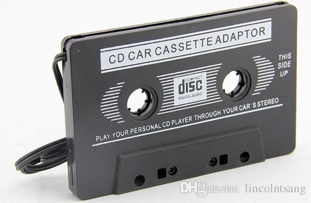 Wholesale 3.5mm Universal Car Audio Cassette Adapter Audio Stereo Cassette Tape Adapter for MP3 Player Phone BLACK