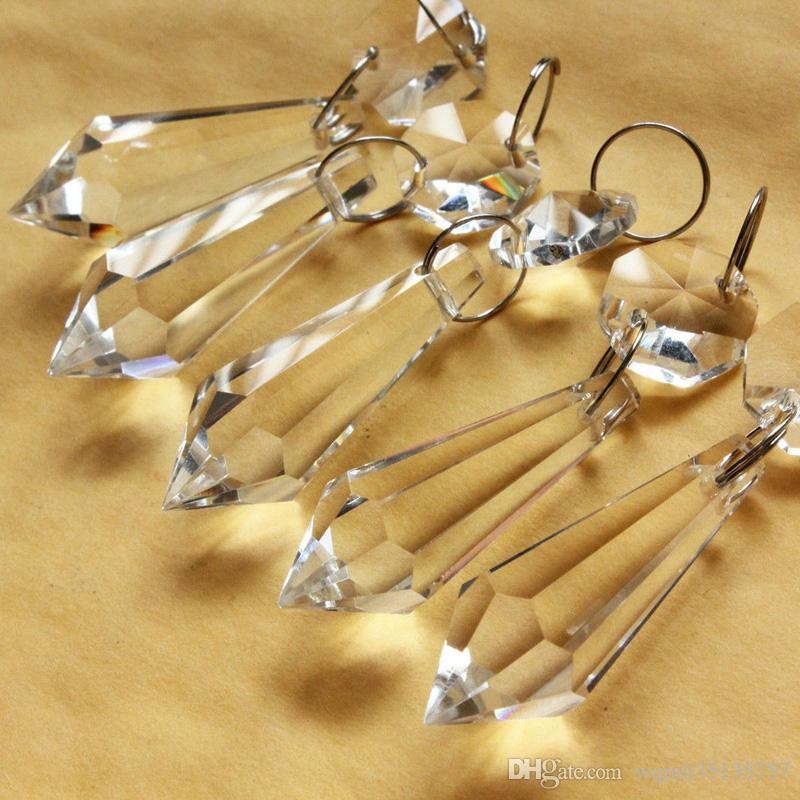 Crystal Glass Chandelier Parts Chandelier Crystal Drop Prisms Pendants 38mm with a Octagon Beads Silver Jump Rings Connector