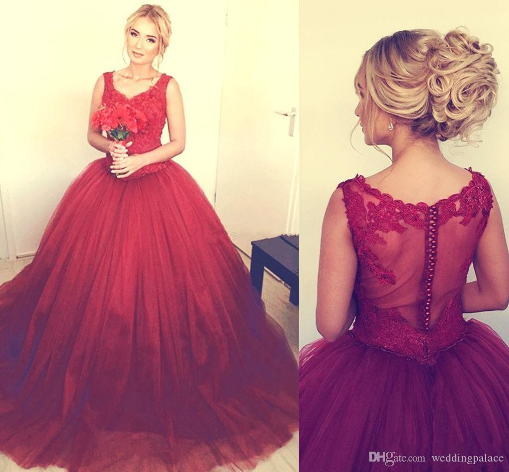 Elegant Dark Red Ball Gown Quinceanera Dresses V-neck Lace Appliques Puffy Quinceanera Gowns Button Back Prom Dresses Sweet 16 Dresses
