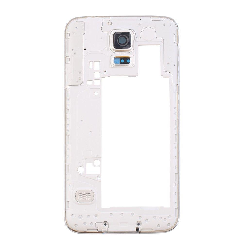 Soem-mittleres Rahmen-Platten-Blenden-Abdeckungs-Gehäuse-Chassis mit hinterer Kamera-Glaslinse für Samsung-Galaxie S5 G900 G900A G900T G900P G900 G900F