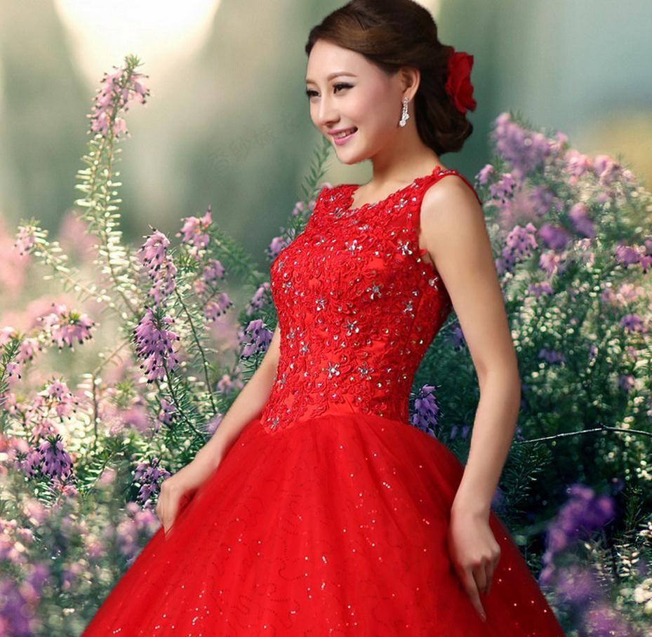 2016 New Arrival Querida Branco Vermelho vestido de Baile Vestidos de Casamento com Organza Strass Cristais Wedding Party Dress Vestidos de Noiva